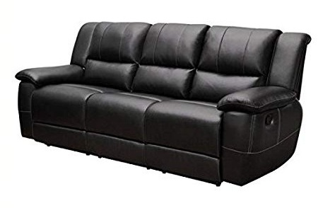 Bowery Hill Transitional Motion Leather Sofa With Pillow Arms In Black 2 ...