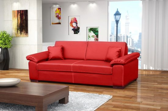 Make a bold statement in your living area with 2016 Red Leather Sofa