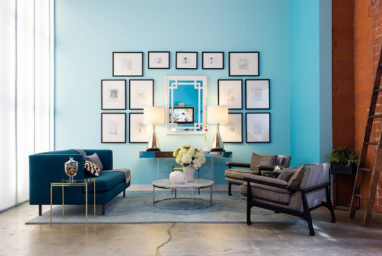 Get a colorful leather loveseat; Blue is the best for your living area