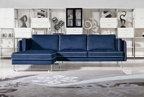 2018 Navy blue leather sofas for a bold and stunning centerpiece