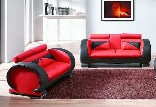 2017 Red and Black Leather Sofas; A striking and luxurious look