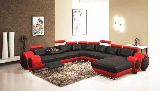 2018 Red And Black Leather Sofas A Striking And
