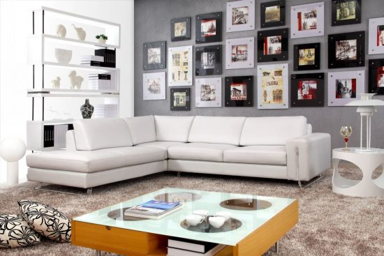 brighten up your living space with 2018 white leather sofa. Black Bedroom Furniture Sets. Home Design Ideas