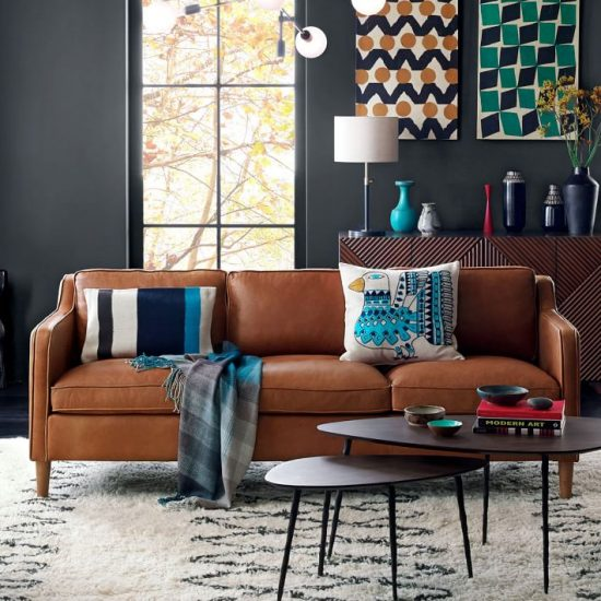 Brown Leather Couch Living Room Decor Paint Colors Dark Sofa