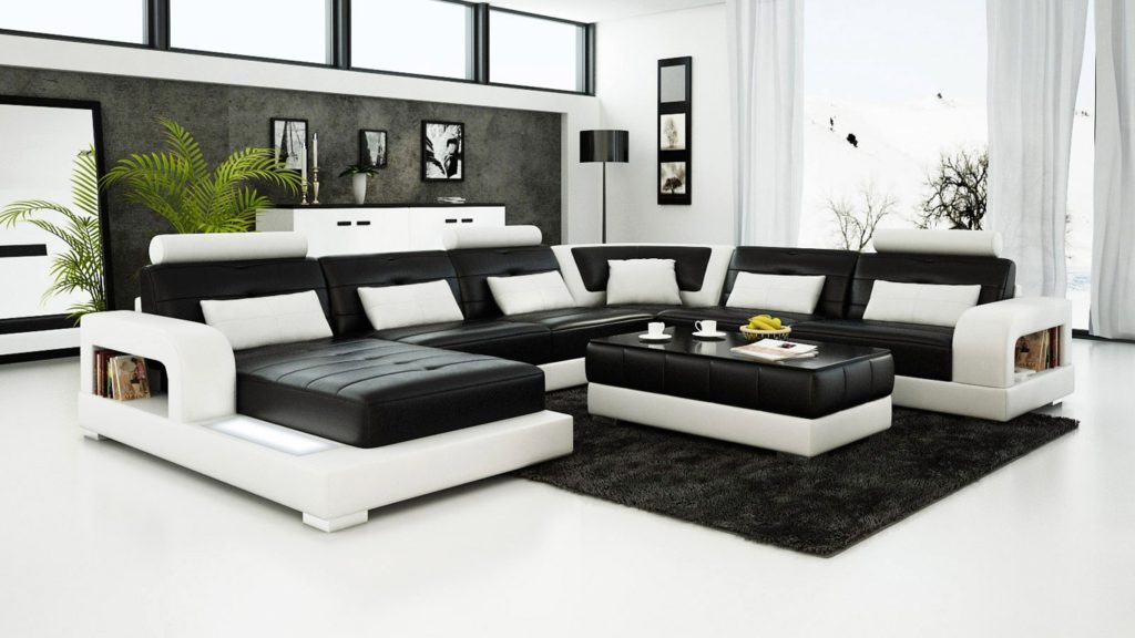 Get a unique look with 2018 black and white leather sofa
