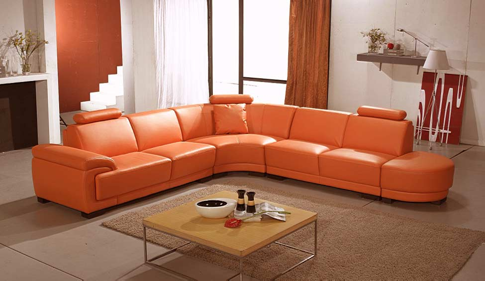 Orange leather sofas; Bright look with warm and comfortable ...
