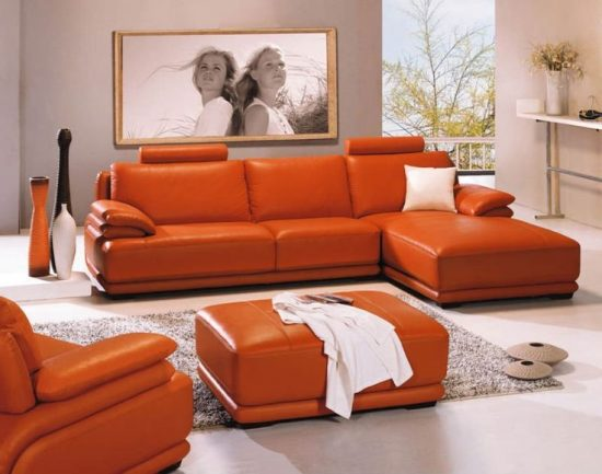 Orange Leather Sofas Bright Look With Warm And