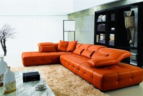 Orange leather sofas - Bright look with warm and comfortable atmosphere