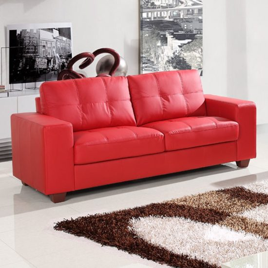Small Red Leather Sofas For Vibrant Small Living Area In 2018